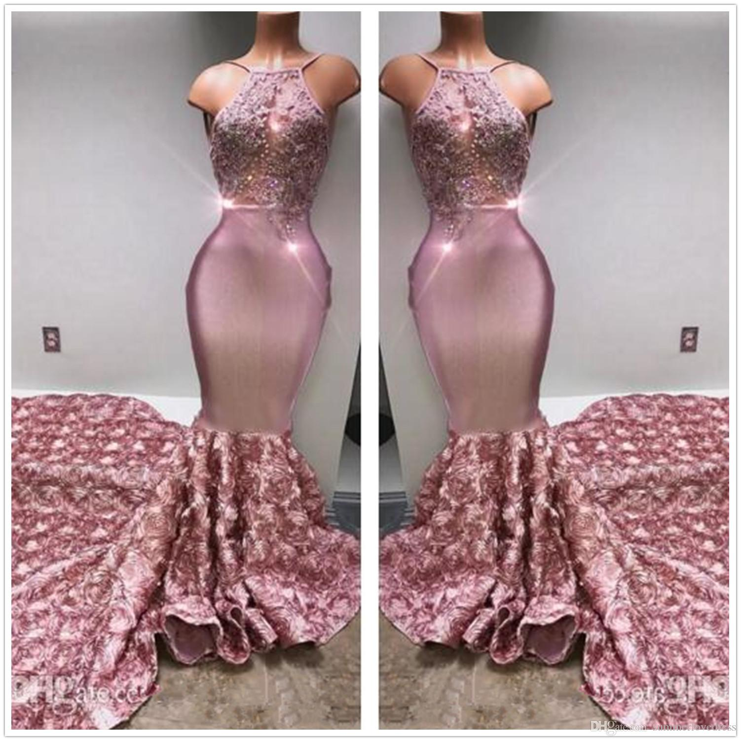 2018 Halter Satin Mermaid Long Prom Dresses Tulle Lace Applique Beaded 3D Floral Sweep Train Party Evening Dresses