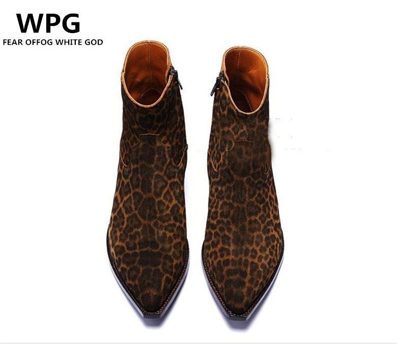 новый стиль винтаж евро Стиль Leopard зерна кожаные ботинки мужские ботинки ботинки