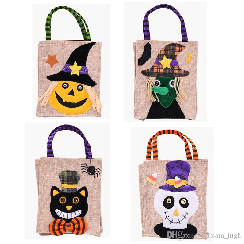 Halloween Decoration Nonwoven Fabric Cartoon Reuseable Candy Bag Tote Bag Handheld Portable Festival Gifts Bag For Kids