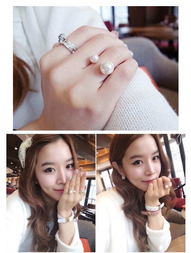 Anéis para mulheres Promoção Coreano Mulheres Elegantes 18kg Banhado Coreano Adorável Meninas 18KGP Abrindo Ajustável Simulado Pearl Rings