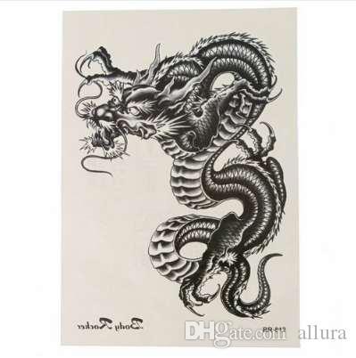 3D bras jambe corps art autocollant cool tatouages temporaires dragon noir amovible étanche tatouage temporaire