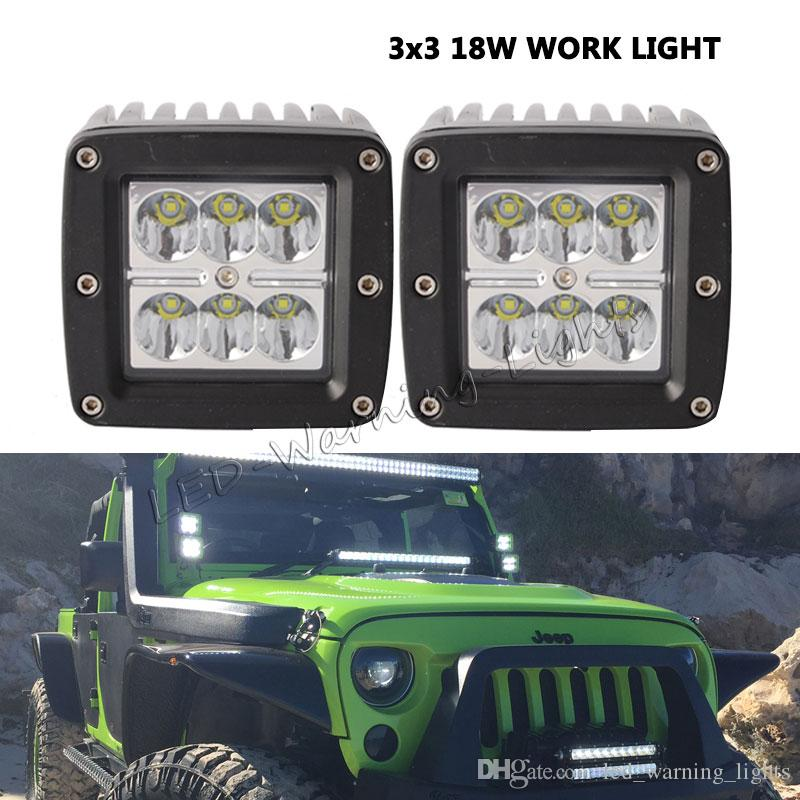"""4X 6/"""" 18W Spot Offroad LED Work Light Pods 3x3 For  Truck Bumper Fog Square"""