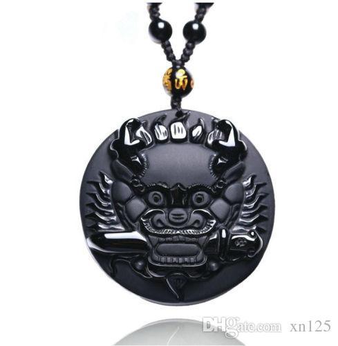 natürliche Obsidian Stein Hand geschnitzt chinesischen Drachen Kopf Charm Anhänger Halskette