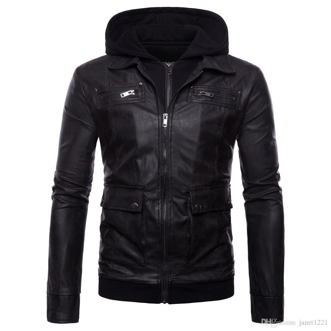 5XL мужчины кожаная куртка с капюшоном куртка зима теплая мотор Куртка для мужчин мульти карман мода PU мужчины пальто поддельные два комплекта J180726