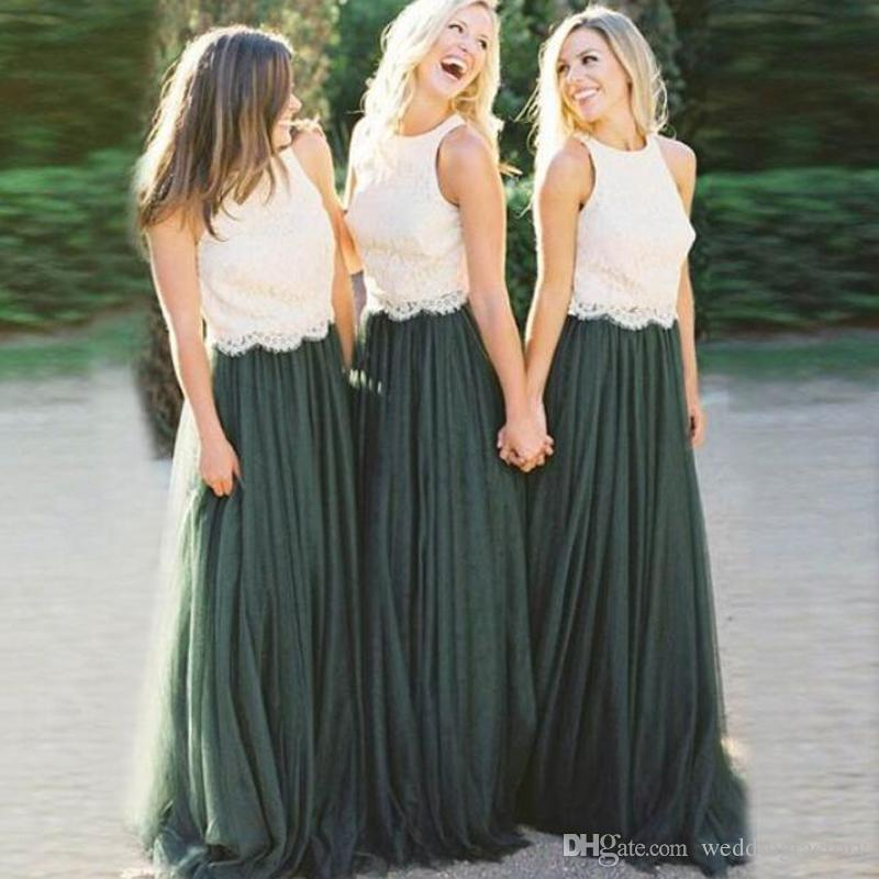 Dark Green Tulle Bridesmaid Dress Long 2019 Country Style Two Colors Vintage Lace Top Jewel Neck Sleeveless Cheap Bridesmaids Dresses Custom