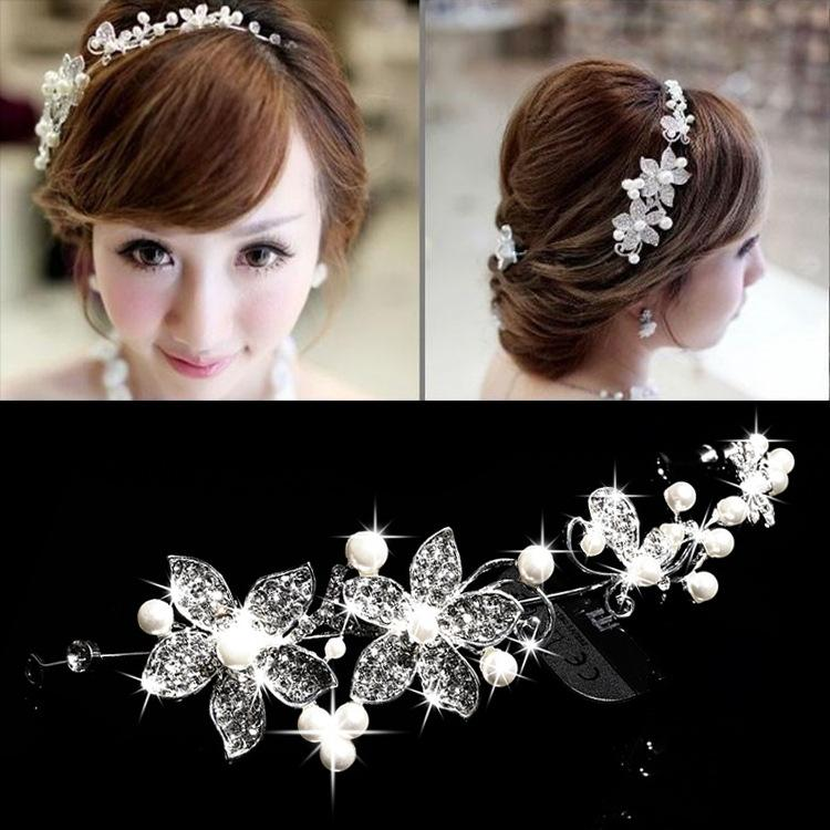 Foreign trade Bridal jewelry alloy diamond pearl tiara Korean hair accessory wedding flower bud accessories Comb