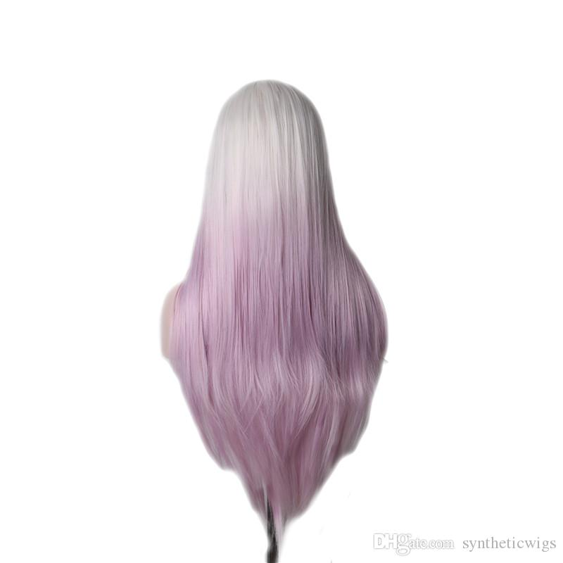WoodFestival lady white gradient purple color wig long straight wigs for women ombre costume synthetic hair party