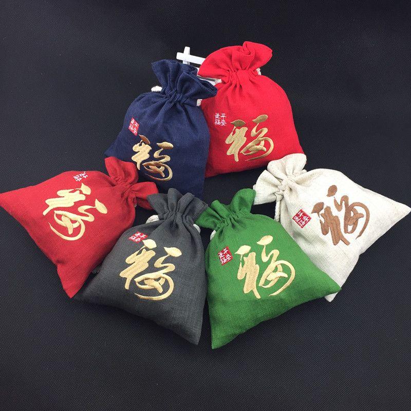 Тонкая вышивка Фу Большой Рождественский подарок сумки свадьба Фавор сумки хлопок белье Drawstring сумка для хранения ювелирных изделий 13x16 см 15x19 см 10шт