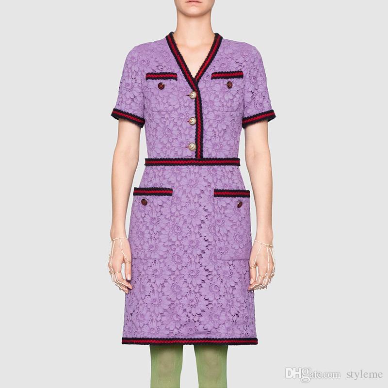 Compre Diseñador De La Marca Mujeres Camisa De Encaje Vestidos 2018 ...