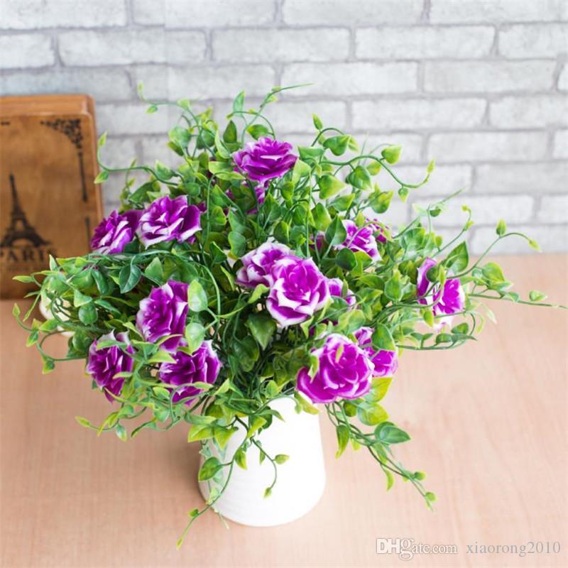 Поддельные розы букет (7 голов/шт) моделирование розы с пластиковым листом персика для свадьбы главная витрина декоративные искусственные цветы