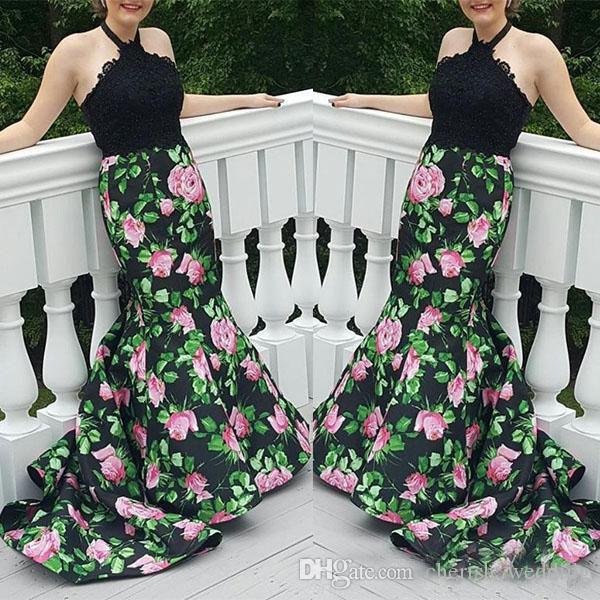 Floral Evening Dresses 2017 Mermaid Floral Halter Lace Top Zip Two Piece With Court Train Prom Dresses Formal Party Gown With Low Back