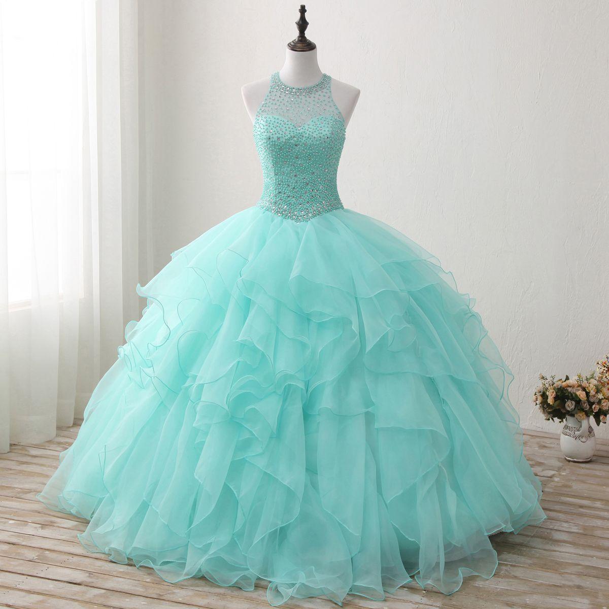 Compre Verde Menta Sweet 16 Vestidos Halter Quinceanera Vestidos Vestido De Bola Con Perlas De Cristal Organza Con Gradas Vestidos Largos Debutante