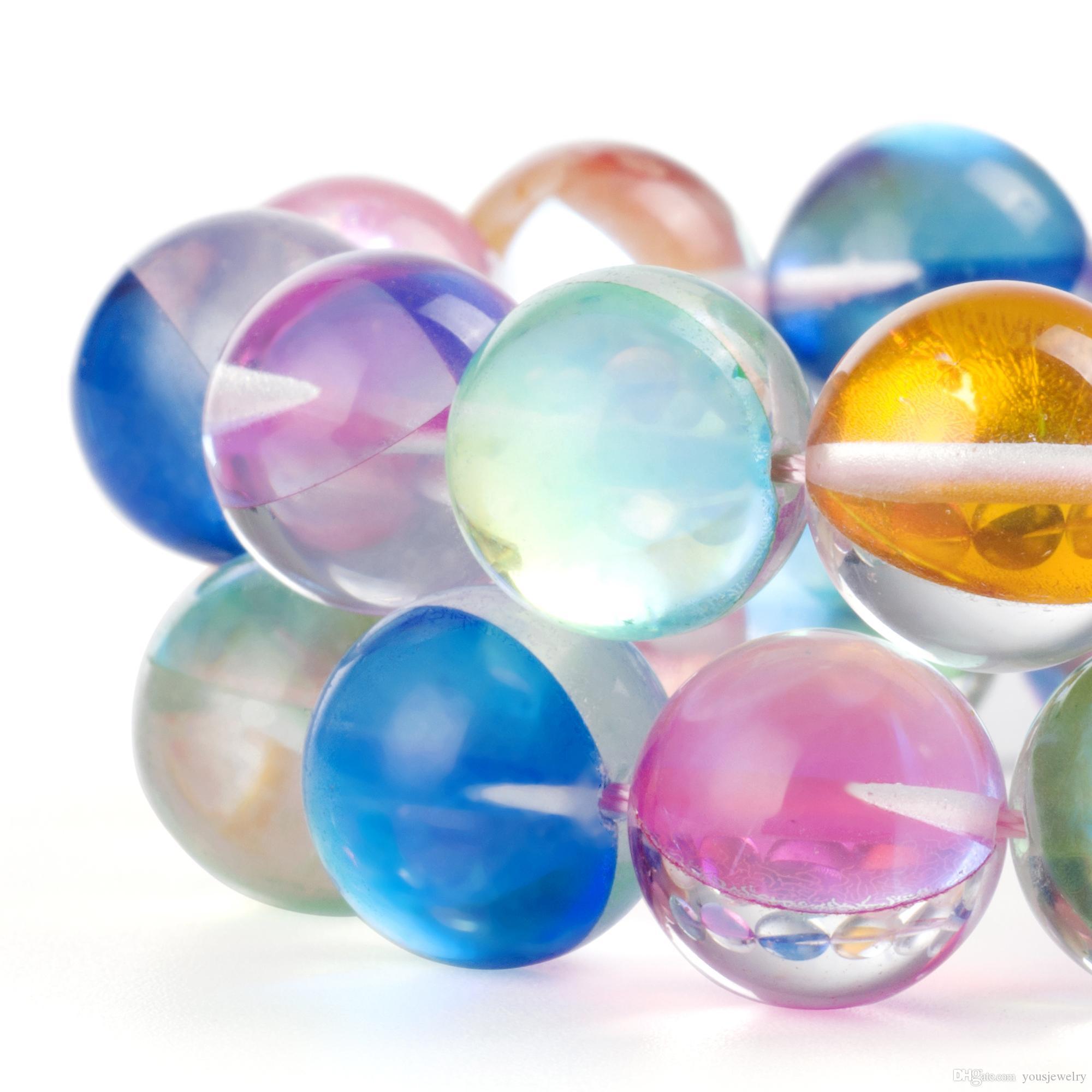 Moonstone beads misturado arco-íris cores aura iridescente cristal austríaco redondo grânulos fracos para jóias fazendo fit mulheres encantos pulseira 6-12 mm