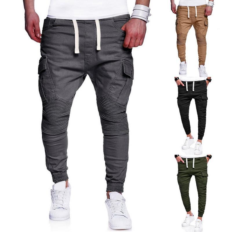 CALOFE 2018 Hommes Sportwear Pantalons de course Pantalons de jogging Homme Poches plissées Pantalons Pantalons de survêtement pour hommes Taille Plus