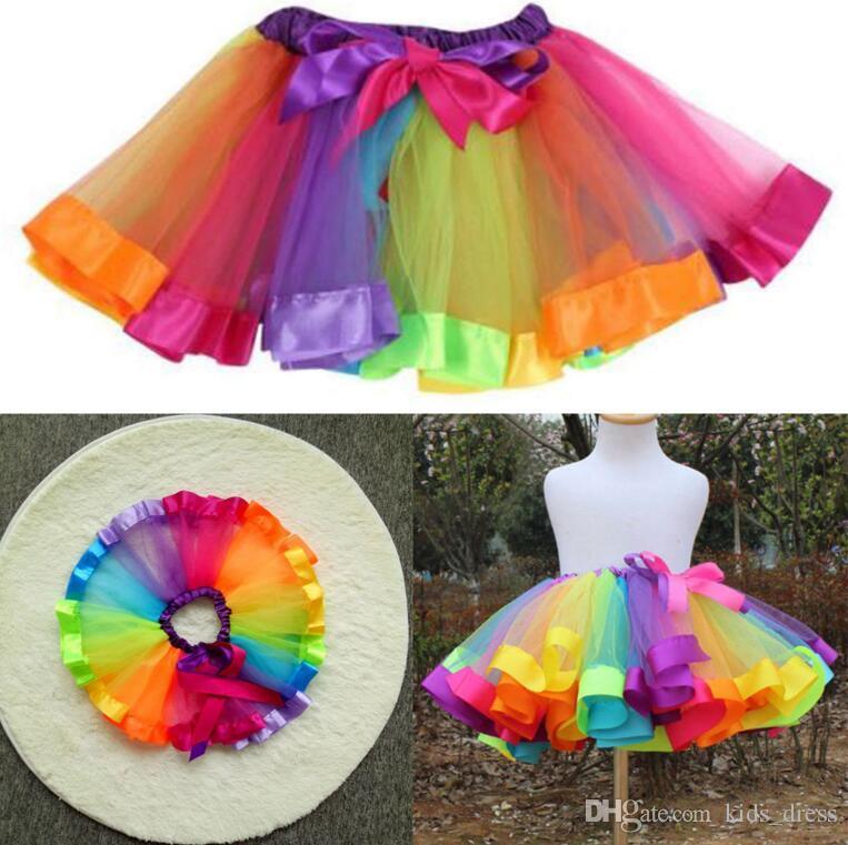 Colorful Tutu Skirt Kids Clothes Tutu Dance Wear Skirts Ballet Pettiskirts Dance Rainbow Skirt Dance Skirt Pettiskirt KKA4140
