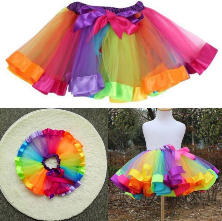 Colorido Tutu Falda Ropa para niños Tutu Danza Desgaste Faldas Ballet Pettiskirts Danza Rainbow Falda Falda Falda Pettiskirt KKA4140