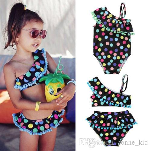 Verão Bebés Meninas Swimwear Maiô Crianças Dot Tow-piece One-piece Bowknot Maiôs Biquíni Swimsuit Borlas Pontos Coloridos Beach Wear