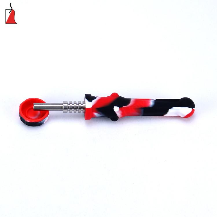 Silicone Titanium Nail Pipes Silicone Honey Straw with Titanium Nail Oil Rig Concentrate Dab Straw Mini hand pipe