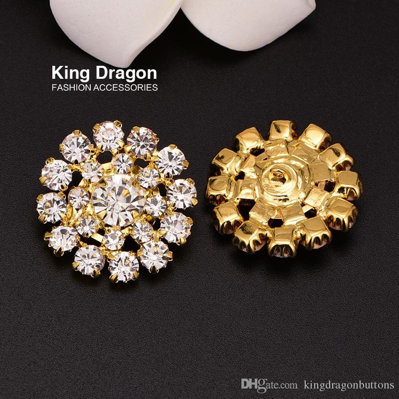 Botão de decoração de strass botão usado em artesanato diy haste de volta 24mm 20 pçs / lote cor de ouro ou prata cor kd68