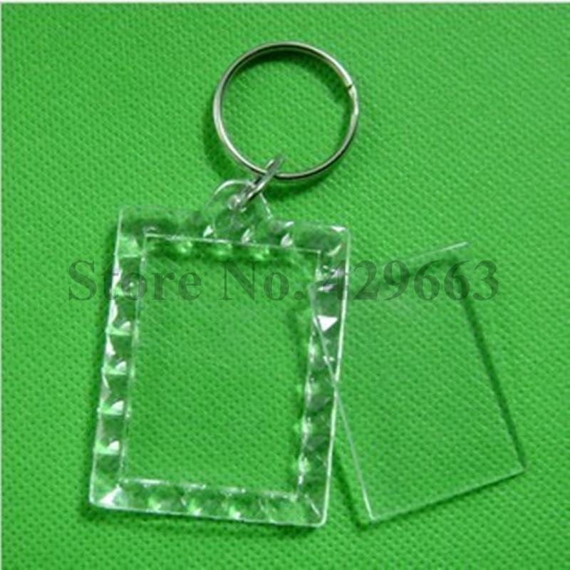 Free shipping 1000pcs Rectangular lace Transparent Blank Photo Picture Frame Key Ring Split Ring keychain Gift For Men Women