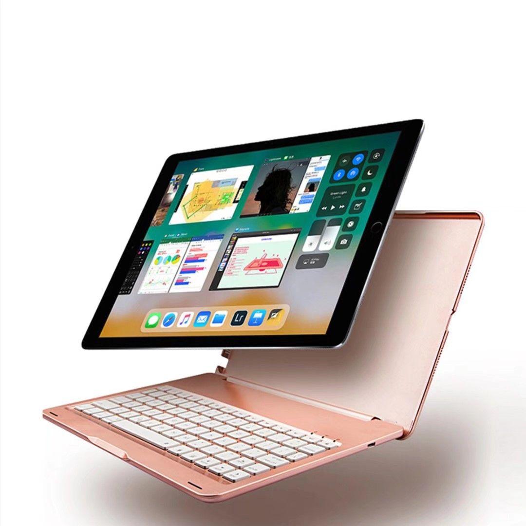 """7 ألوان الصمام الخلفية الألومنيوم المعادن اللاسلكية بلوتوث حالة لوحة المفاتيح لابل ipad برو 10.5 """"بوصة اللوحي"""