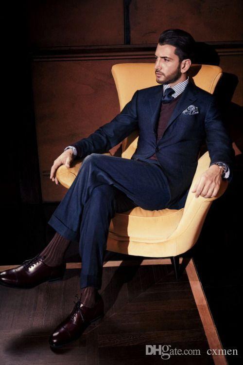 Dark Blue Custom Made Groom Tuxedos Slim Suits Fit Best Man Suit Wedding Men Suits Bridegroom Wear (Jacket+Pants)