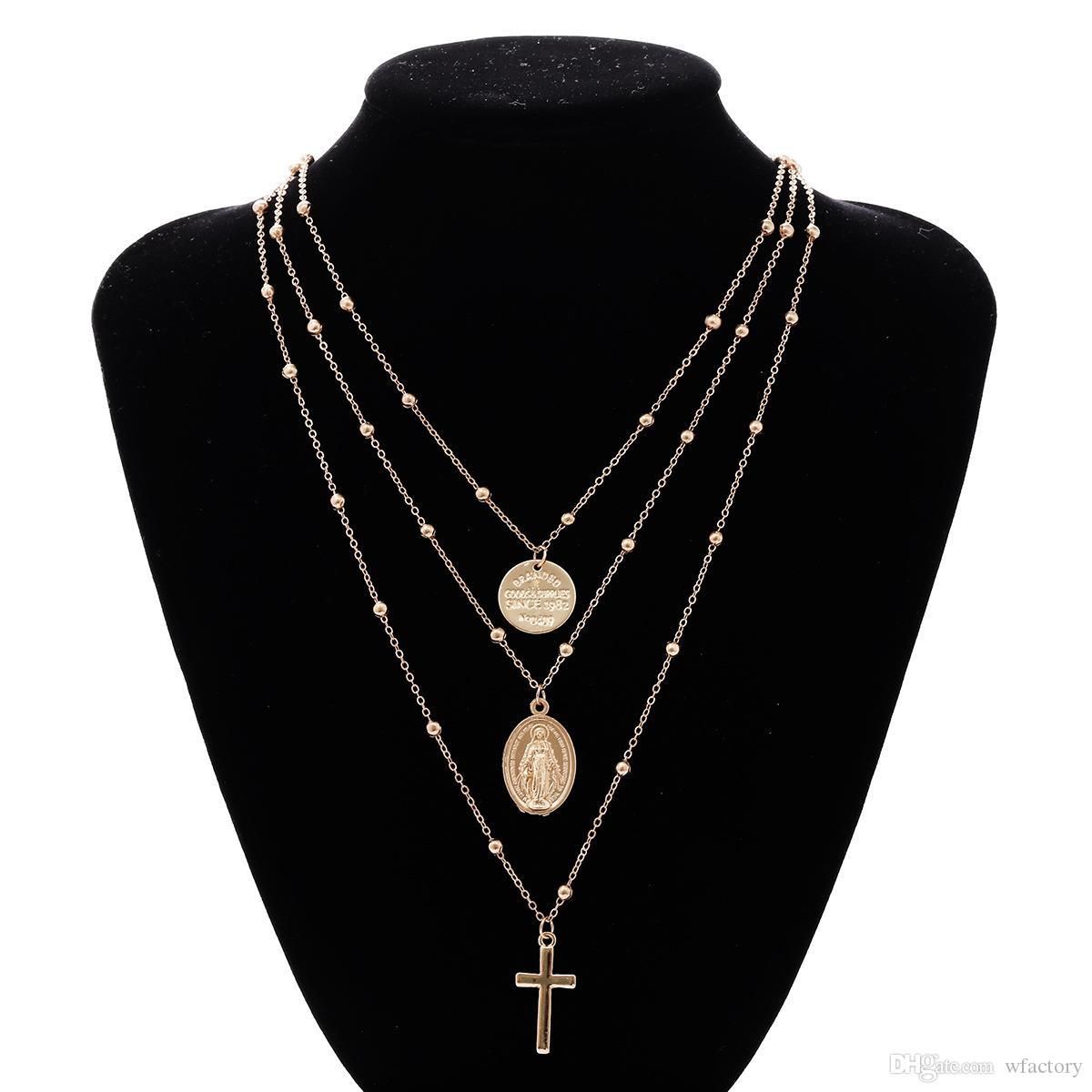 İsa Çapraz Katmanlı Kolye Kolye-Moda Katmanlı Charm Kolye Zincir Hediye Kadınlar Takı Için Altın Gümüş Ton