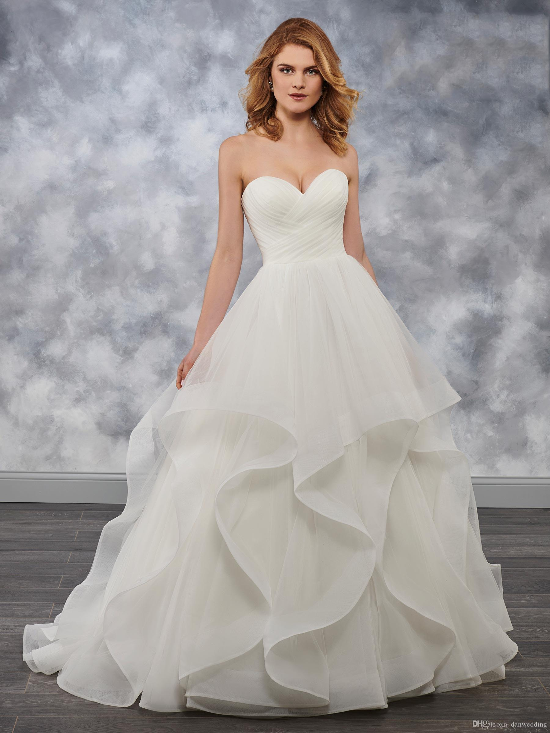 Sobriety Ivoire Sweetheart Tulle Volants A-Line Robes De Mariée Robes De Mariée Robes De Mariage Robes de mariage Taille personnalisée 2-16 kf1014143