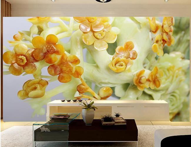Phto toute taille Jade fleur relief TV fond d'écran mural pour les murs 3 d pour le salon