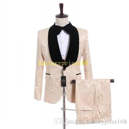 클래식 유행 목도리 옷깃 사용자 정의 색상 신랑 턱시도 Groomsmen 최고의 남자 정장 망 결혼식 정장 신랑 (재킷 + 바지 + 조끼 + 넥타이)