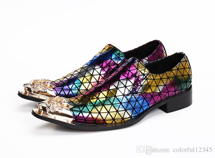 Zapatos de vestir para hombre de la pista de estilo italiano Mocasines Oxfords Zapatos de punta de cuero de las lentejuelas del dedo del pie en punta multicolor 12