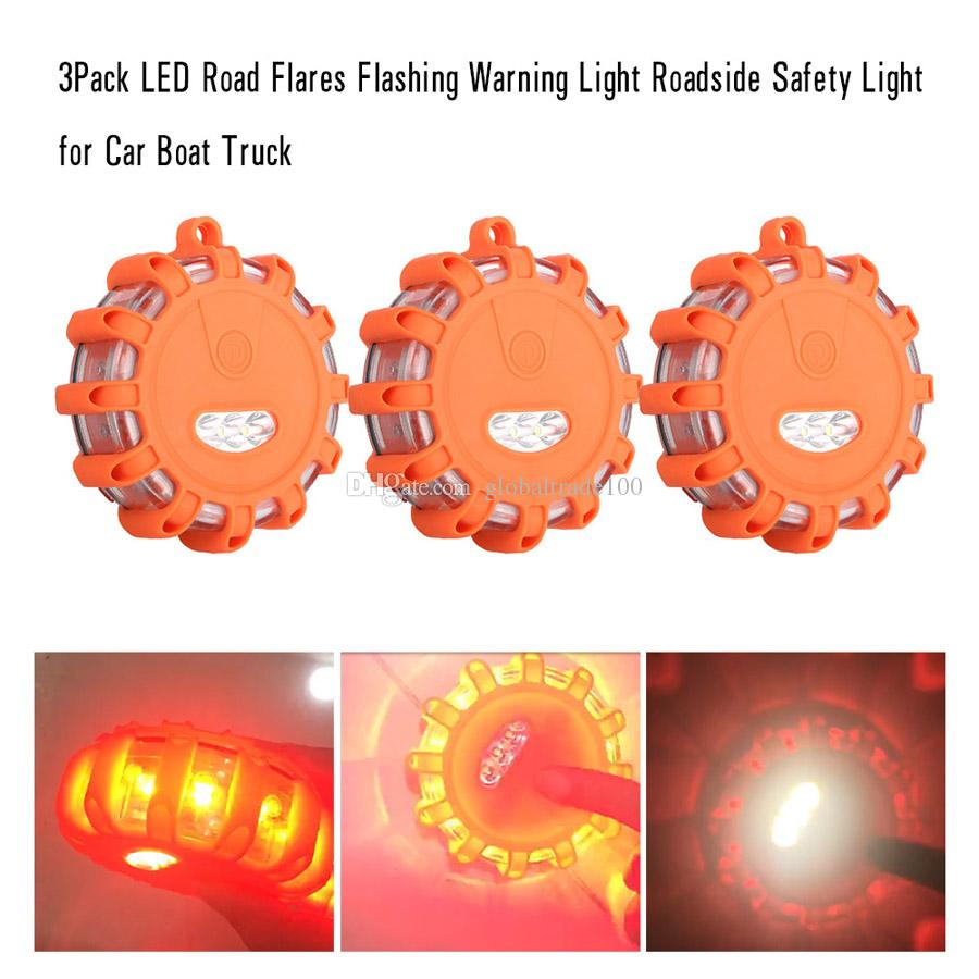 LED Roadside Emergency Flares 3 Pack Flashing Warning Lights Safety Car Boat New