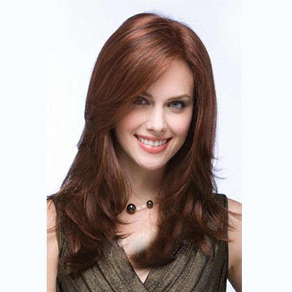 18 inches Women Fashion Wig styles Synthetic long layered straight hair wigs for women Capless Dark brown wig