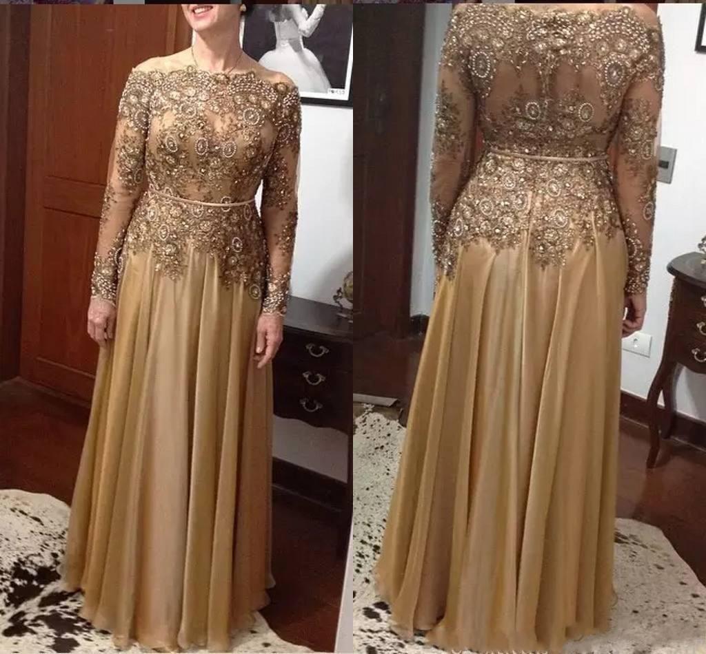 Günstige bescheidenen Perlen Mutter der Braut Kleider mit langen Ärmeln Pailletten Plus Size Lace Hochzeitsgast Kleid Gold bodenlangen Abendkleider