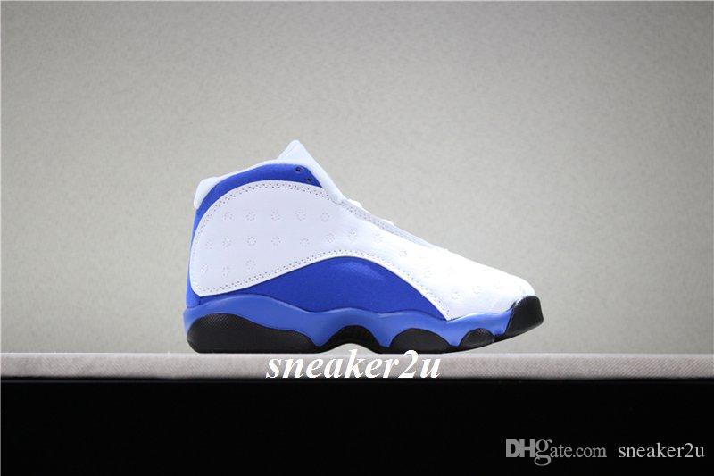 Zapatos de baloncesto para niños 13 hiper real-negro blanco azul Zapatos deportivos para niños 13 tamaño US 11c-3y con estuche