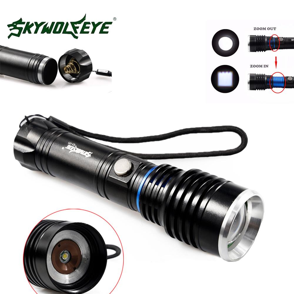 Skywolfeye T71 Xm-l T6 Led Rechargeable Flashlight Torch Zoomable 1000 Lumen 5 Modes Focus Lamp Flash Light for Outdoor Camping