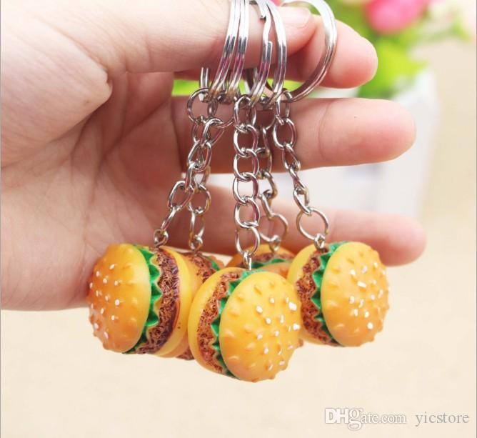 Simulation Food Hamburger Pendant Keyfob Keyring Car Phone Bags Charm Key Ring Key Chain