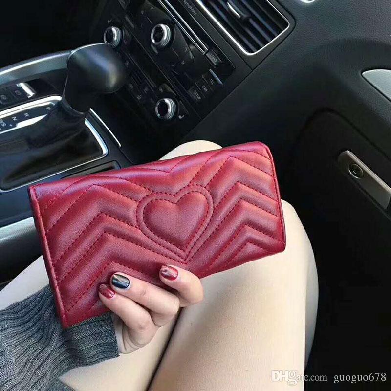 클래식 휴머노이드 패턴 지갑 여성 Quilted Leather 직사각형 커버 지갑