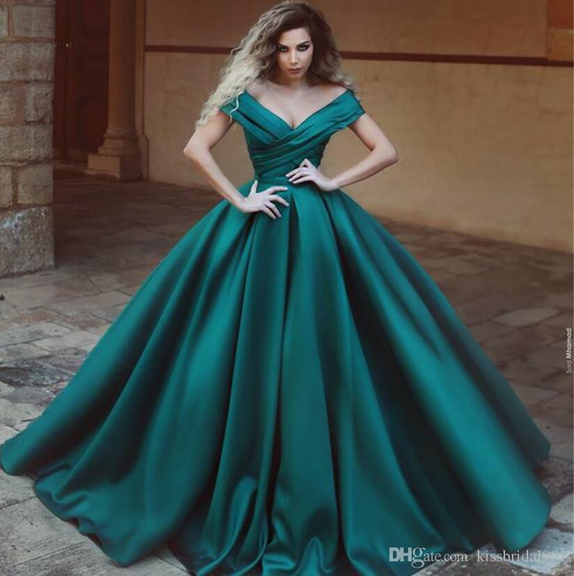 Hunter Green Платья для выпускного вечера Рукава с атласными рукавами Вечерние платья с короткими рукавами A Line Cap Рукава с рюшами Пышное платье для выпускного вечера
