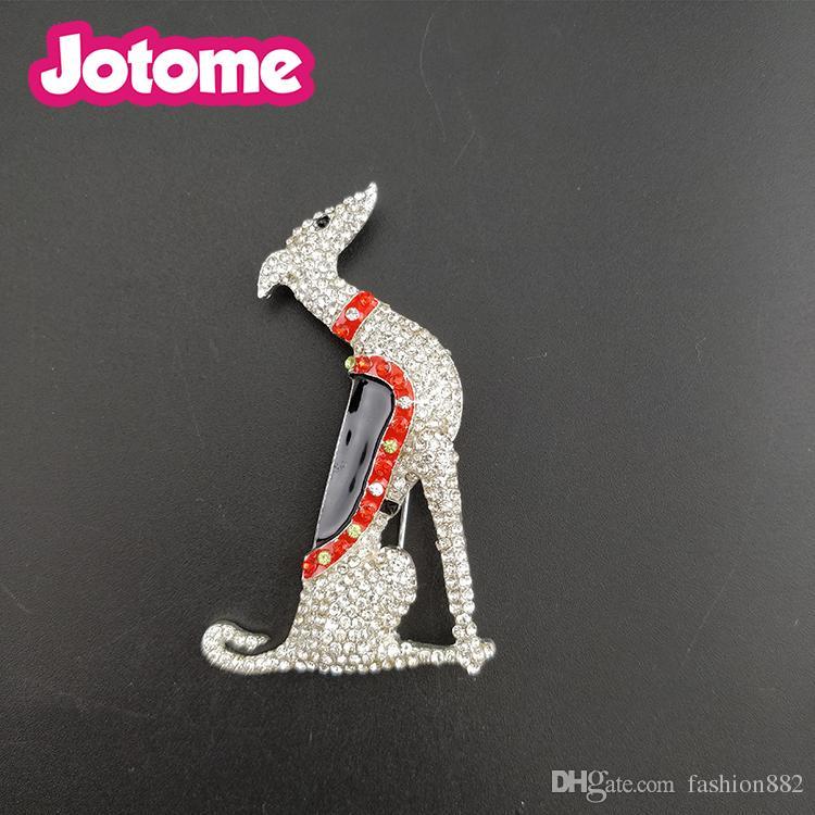 1 pcs / Moda Jóias de Prata Tom Greyhound Scotty Borzoi Cão Filhote de Cachorro Canino Strass Esmalte Animal Pin Broche