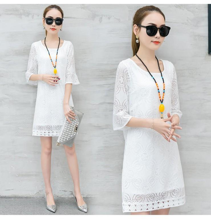 New Women Dress Summer Casual Hollow Lace Dresses Ladies Half Sleeve Vestidos Mujer Dress Plus Size White Robe Femme Mode 2018 (6)