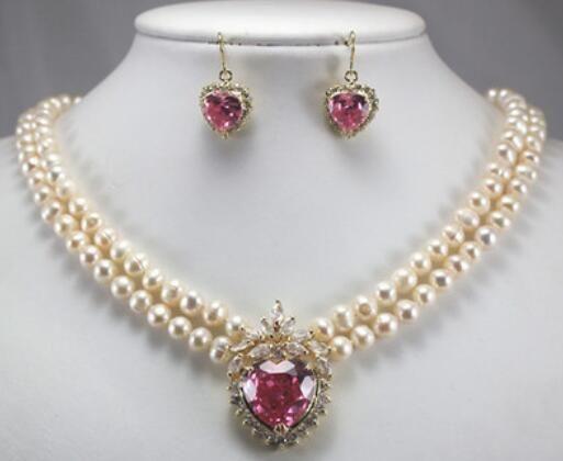 Новое пришествие! 2 строки белый жемчуг ожерелье + Сердце розовый Циркон кулон серьги набор