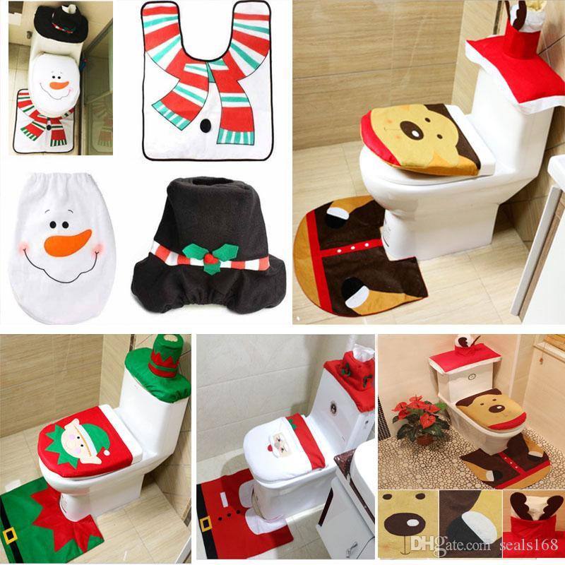 3 Parça / Set Noel Noel Baba Bez Tuvalet Ayak Pedi Kapak Klozet Kapak Radyatör Kapağı Kapak Süsleri Banyo Takımı Noel HH7-1295