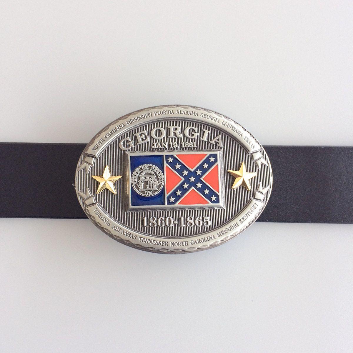 Georgia GA State Flag Western Metal Belt Buckle