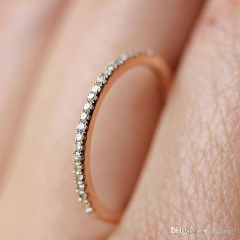 Jewelry Round Rings For Women Rose Gold Color Crystal Setting Simple Wedding Band Rings Hot Fashion White Gold Wedding Bands Affordable Engagement Rings From Nothing2 10 86 Dhgate Com