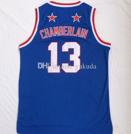 2020 NOUVEAU HOMME HARLEM Équipe de basketball Wilt Chamberlain 13 Blue Basketball Jersey Shirts Tops, 45 Mitchell 77 Doncic 13 Antetokounmpo 13 Harden