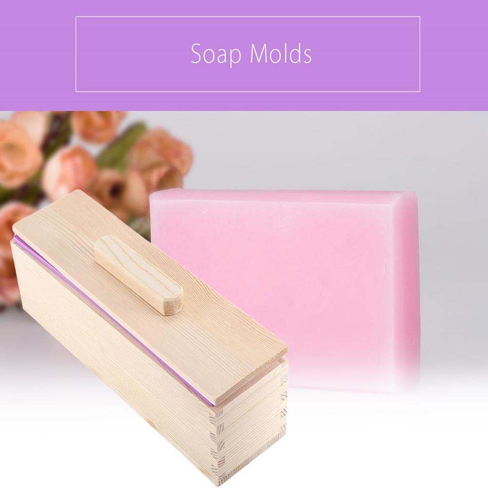 900g de alta calidad No tóxico y 1200g rectangular maciza, DIY hecho a mano Liner de silicona del molde Jabón Crafts caja de madera con cubierta de tapa