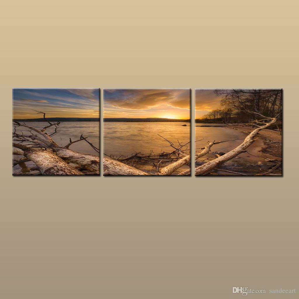 مؤطر / غير المؤطرة الساخن المعاصر قماش الحديثة جدار الفن طباعة اللوحة شاطئ الغروب البحرية صورتي 3 قطعة غرفة المعيشة ديكور المنزل ABC247