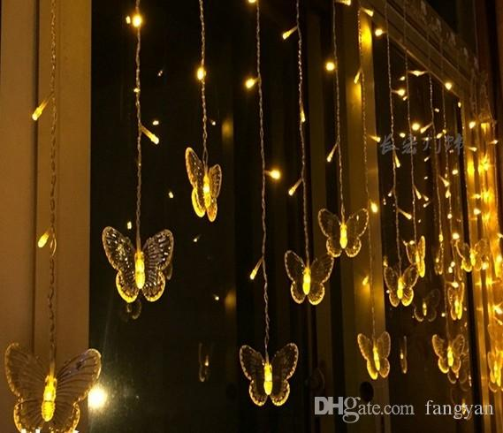 4M100LED wide star butterfly curtain LED lights string flashing wedding room layout decoration