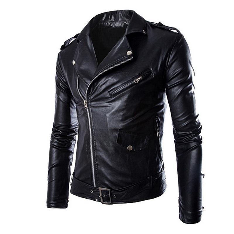 WENYUJH Spring Autumn Fashion Motorcycle Jackets PU Leather Moto Jackets Men Slash Zipper Lapel Biker Rider Faux Leather Coat D18101006